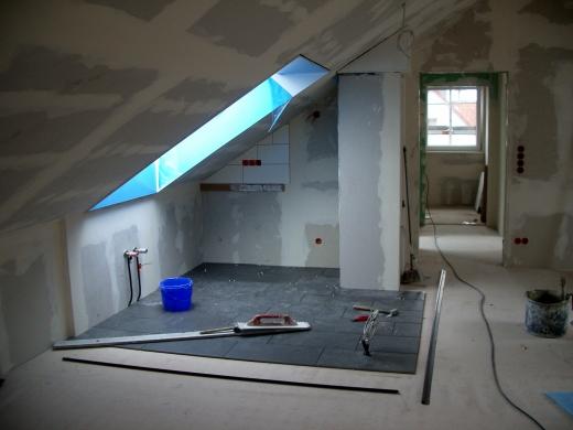 Dachbodenausbau Kuche Mit Fliesenboden Vorher Bilder